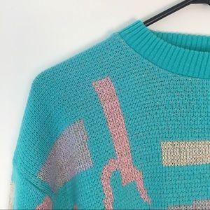 Vintage Sweaters - Vintage Pastel Pink Blue Graphic Sweater S